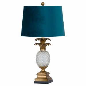 Gold & Glass Ananas Table Lamp with Blue Velvet Shade