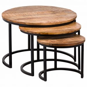 Set of 3 Curved Base Wooden Nesting Tables