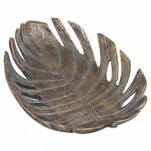 Antique Style Bronze Cheese Plant Dish