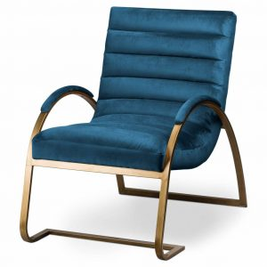 Petrol Blue Ribbed Chair with Brass Frame