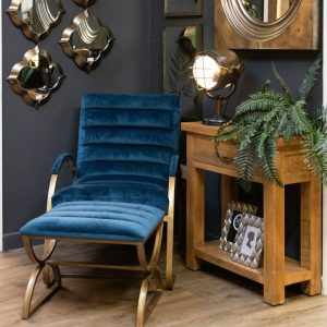 Petrol Blue Ribbed Footstool with Brass Frame