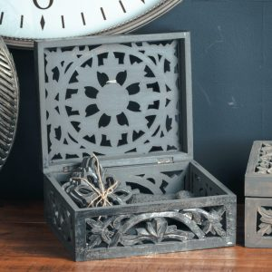 Carved Antique Style Wooden Trinket Box