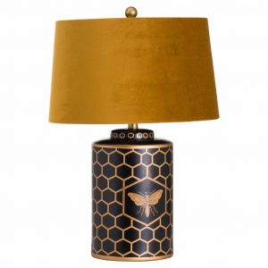 Black & Gold Bee Table Lamp with Mustard Shade