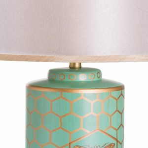 Green & Gold Bee Table Lamp with White Shade