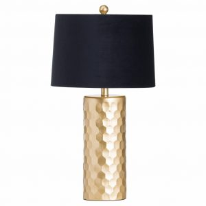 Honeycomb Gold Table Lamp with Black Velvet Shade