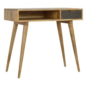 Wooden Writing Desk with Grey Tweed Drawer