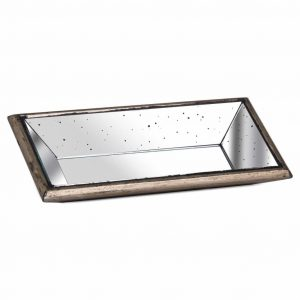Distressed Mirrored Display Tray with Wooden Detailing