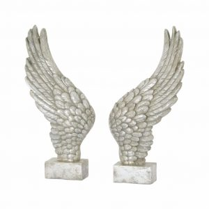 Large Freestanding Silver Angel Wings Ornament