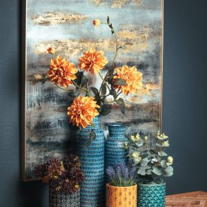Large Abstract Grey & Gold Glass Image with Gold Frame