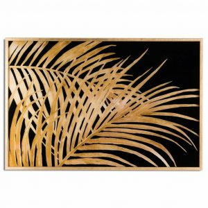 Metallic Palm Leaf Glass Image A in Gold Frame