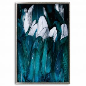 Teal & Silver Feather Glass Image in Silver Frame