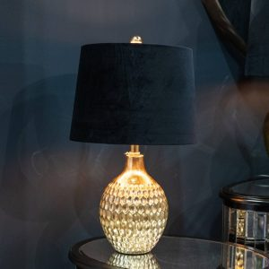 Vincent Gold Table Lamp with Black Velvet Shade