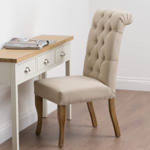 Cream Roll Top Chair with Back Ring Pull