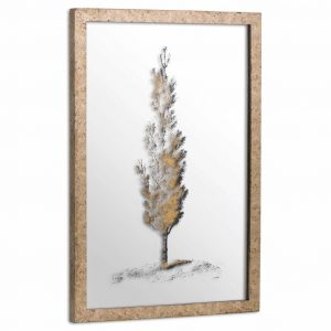 Antique Style Pine Tree Mirrored Image in Brass Frame