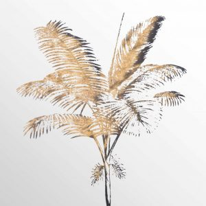Antique Style Palm Tree Mirrored Image in Brass Frame