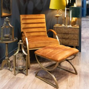 Burnt Orange Ribbed Chair with Brass Frame