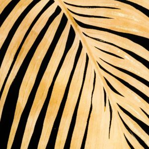 Metallic Single Palm Leaf Glass Image in a Square Gold Frame
