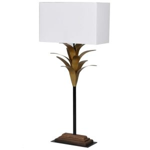 White & Gold Palm Table Lamp