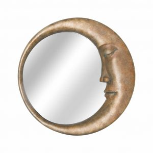 Crescent Moon Mirror in Gold