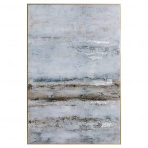 Large Abstract Grey Glass Image in Silver Frame
