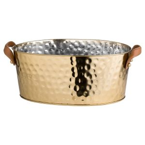 Large Brass Champagne Cooler with Leather Handles