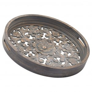 Set of 2 Carved Grey Wash Wooden Trays