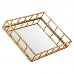 Set of 2 Gold Bamboo Effect Trays