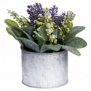 Lavender & Lily with Leaves in a Tin Pot