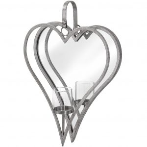 Antique Silver Mirrored Heart Candle Holder