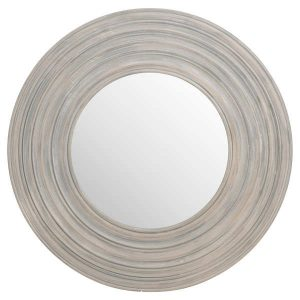 Ribbed Wooden Mirror in Grey
