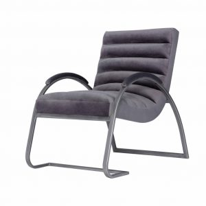 Grey Ribbed Chair with Silver Frame