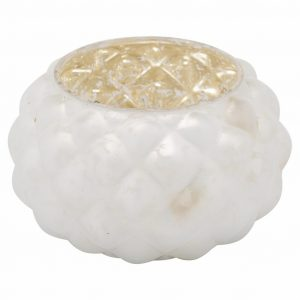 The Noel Collection Small White & Gold Candle Holder