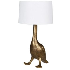 Golden Goose Lamp with White Shade