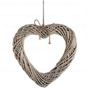 Wicker Hanging Heart with Rope Detail