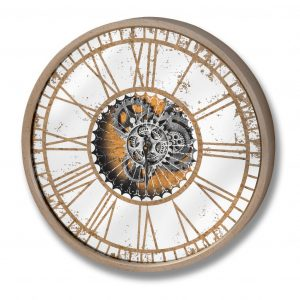Round Mirrored Clock with Moving Mechanism