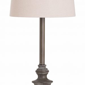 Calven Antiqued Table Lamp with Natural Shade