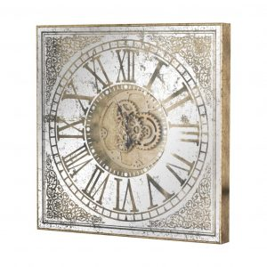 Square Framed Mirrored Clock with Moving Mechanism