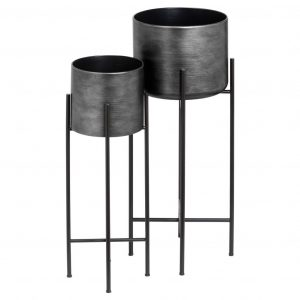 Set of 2 Grey Metallic Planters with Stand