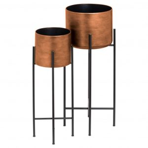 Set of 2 Copper Planters with Stand