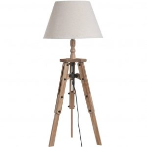 Wooden Tripod Table Lamp with Linen Shade